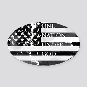 one nation gray Oval Car Magnet